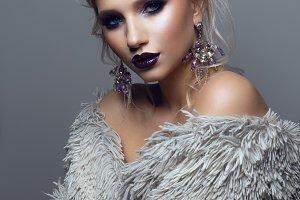 Portrait of beautiful girl with dark