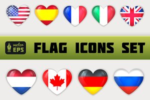 Glass Heart Flag Icons Set