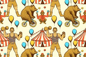 Sketch circus seamless pattern