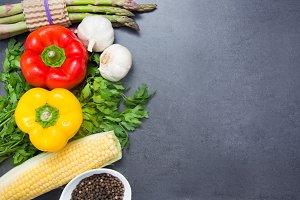 Vegetables on slate table