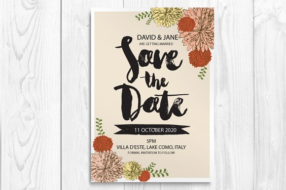 save the date card template vector Illustrations on Creative Market – Save the Date Card Template