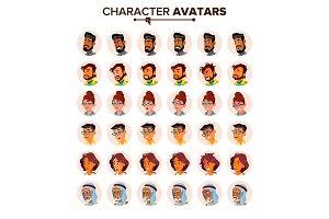People Avatar Set Vector. Man, Woman