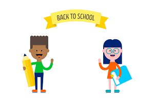 Cute children. Back to school banner