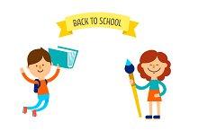 Cute children. Back to school banner