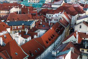 View on Prague panorama with red roo