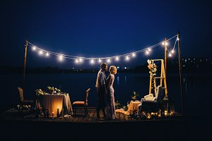 Wedding dinner by the sea