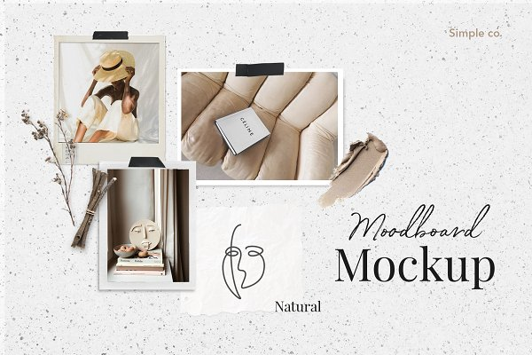 Templates: Simple có - Natural Moodboard mockup