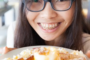 joy woman eat dessert