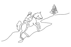 Continuous one line drawing. Horse