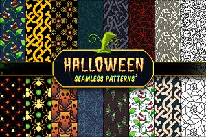 Halloween Seamless Patterns Set 3