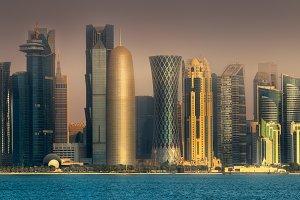 The skyline of Doha City, Qatar