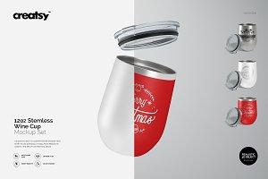 12oz Stemless Wine Cup Mockup Set
