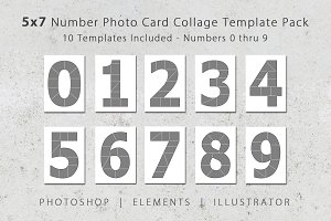 5x7 Number Photo Card Templates