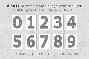 8.5x11 Number Photo Template Pack