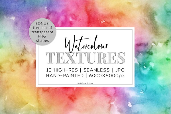 10 Huge Seamless Rainbow Watercolors