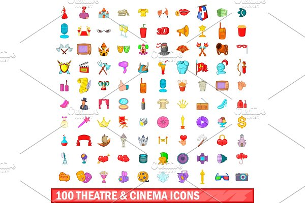100 theatre and cinema icons set