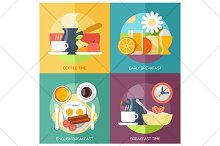 breakfast flat icons