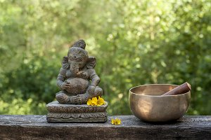 ganesh and tibetan bowl