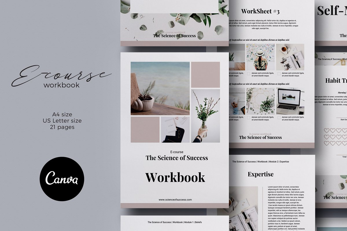Canva E-course Workbook Template ~ Magazine Templates ...