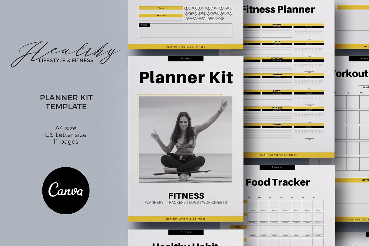 Fitness Planner Kit Canva Template