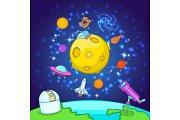 Space exploration concept, cartoon