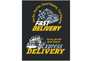 Delivery elements. Yellow and white