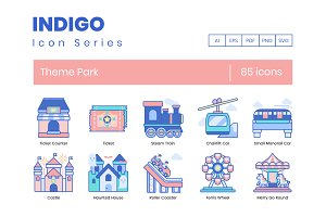 85 Theme Park Icons | Indigo Series