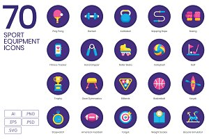 70 Sport Equipment Icons | Orchid
