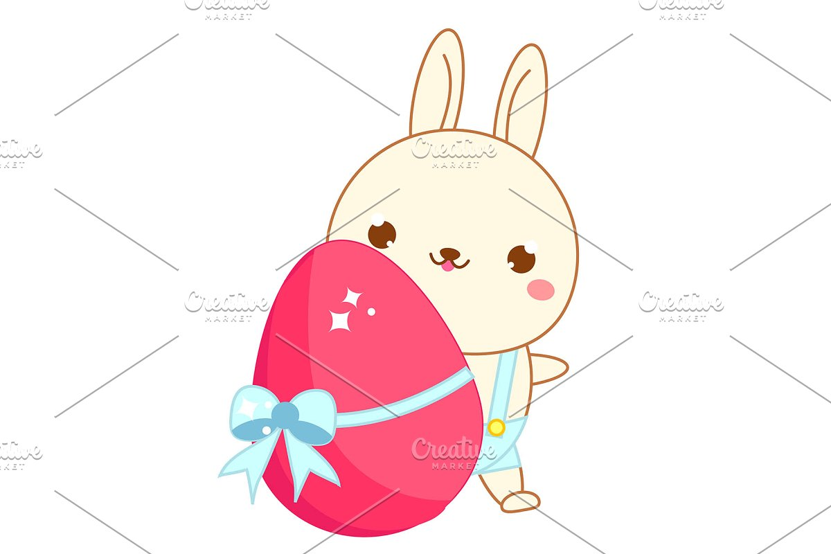 Easter bunny kawaii. Cute icon