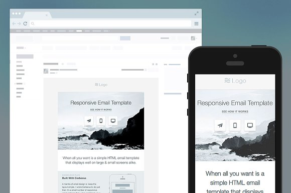 Responsive HTML Email Template Email Templates Creative Market - Responsive html email template