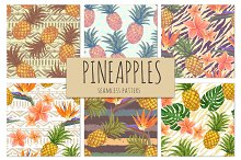 Bright pineapples patterns set