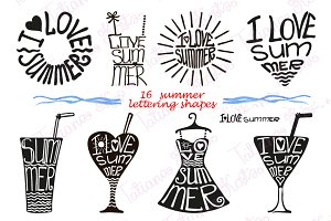Summer lettering set in black