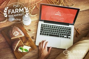 Farm Breakfast PSD Macbook Mockup