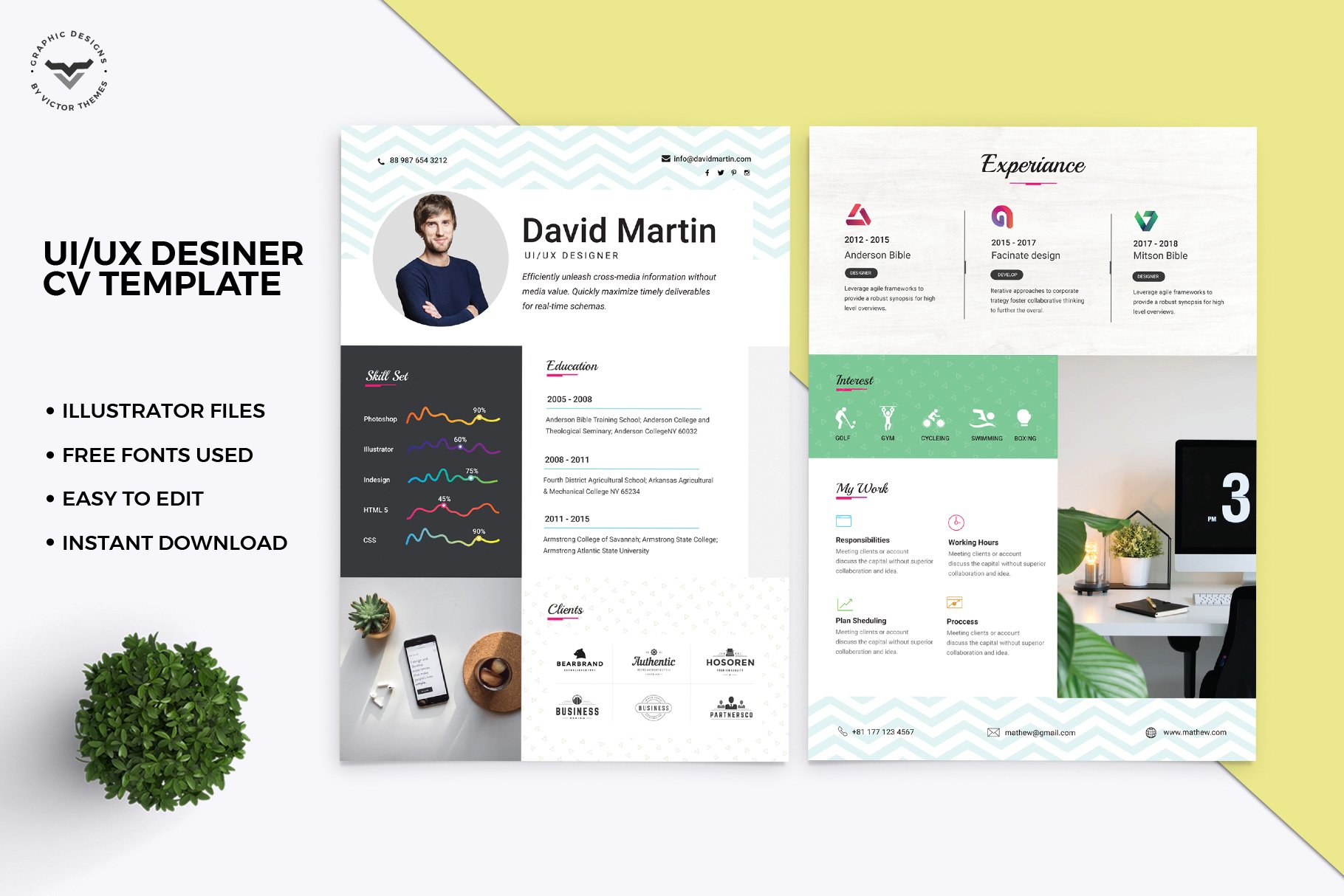 Ui Ux Designer Cv Template Creative Photoshop Templates