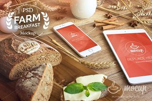 Farm Breakfast iPad & iPhone 6 Mocku