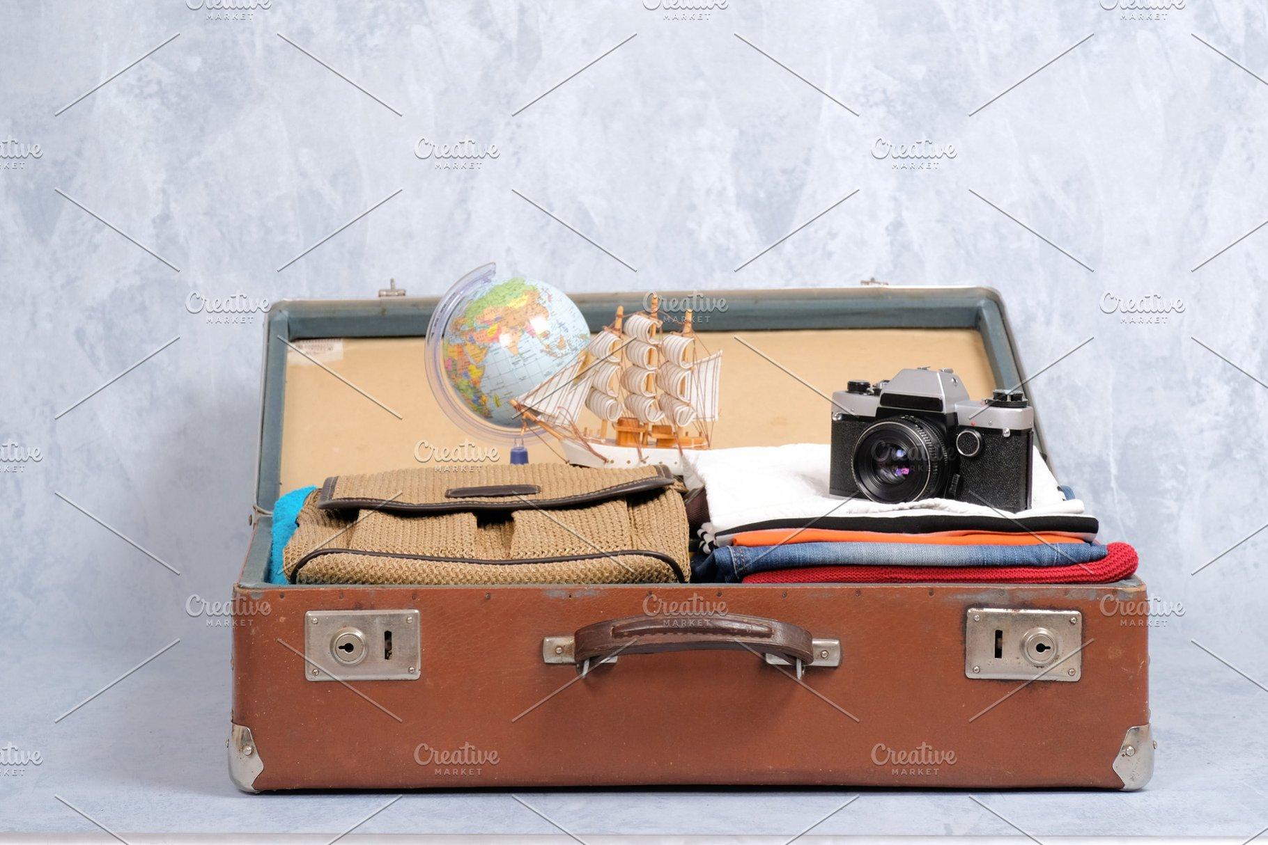ab4347324ed60 Full travel suitcase ~ Holiday Photos ~ Creative Market