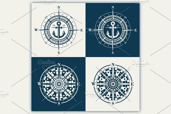 Compass roses (windroses) vector set