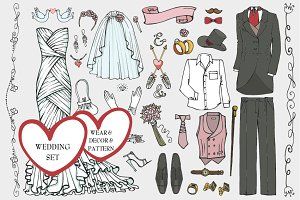 Wedding fashion.Bride,groom wear