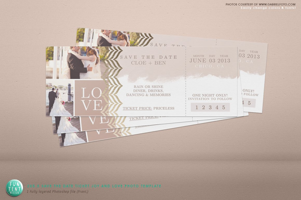 2x5 5 Save the Date Love Ticket psd ~ Business Card