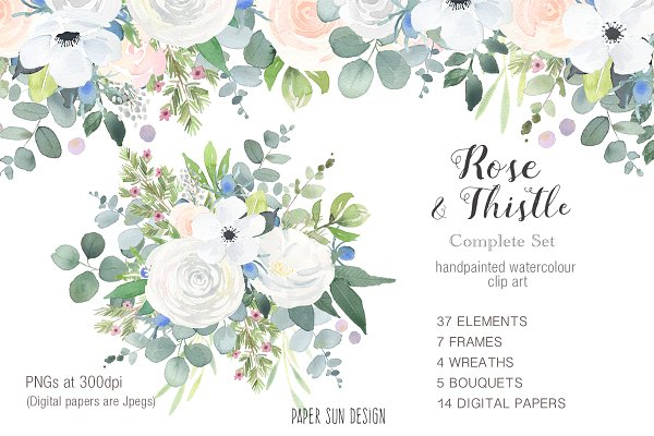 Rose and Thistle Clip Art Bundle