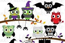 Happy Halloween Owl Clipart & Vector