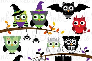 Happy Halloween Owl Clipart & Vector
