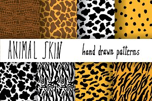 Animal Skin Hand Drawn Pattern Set