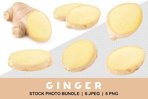 Isolated ginger pieces