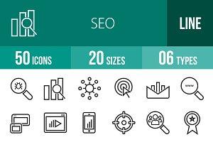 50 SEO Line Icons