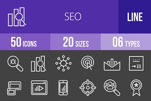 50 SEO Line Inverted Icons