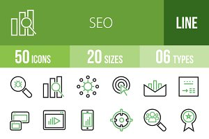 50 SEO Line Green & Black Icons