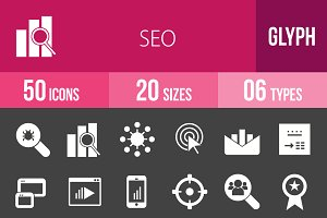 50 SEO Glyph Inverted Icons