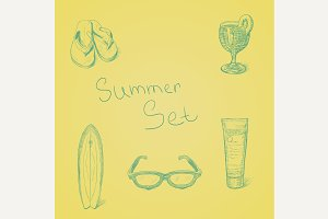 Summer hand drawn set