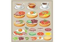 Set of breakfasts